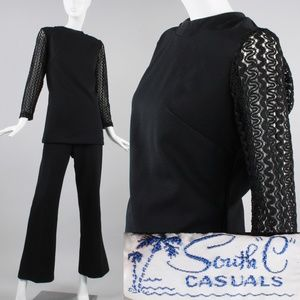 XL Vintage 60s Bell Bottom Pants + Top Mod Outfit